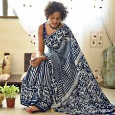 Rajasthani HandMade Dabu Indigo Natural Printed Soft Malmal Cotton Saree &Blouse
