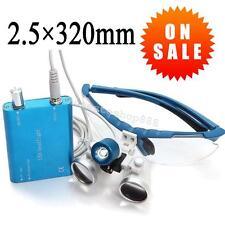 Blue Dental Surgical Medical Binocular Loupes 2.5X 320mm +LED Head Light Lamp CE