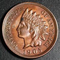 1905 INDIAN HEAD CENT - With LIBERTY & 4 DIAMONDS - AU UNC