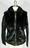 BLANK NYC Size S Black Faux Fur & Vegan Leather Moto Jacket NWT