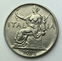 Dated : 1922 - Italy - One Lira - 1 Lira Coin - Vittorio Emanuele III