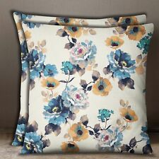 Square White With Blue Pillow Case Floral Print Cotton Poplin Cushion Cover