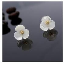 12mm 925 Sterling Silver Pearl Shell Sakura Cherry Flower Stud Earrings Gift I7