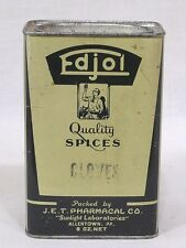 Vintage Spice Tin 8 oz. Edjol Cloves JET Pharmacal Co Allentown PA