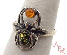Sterling Silver Vintage 925 Carved Spider Amber Ring Sz 8.25 (2.6g) - 552333