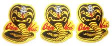 "Karate Kid Movie & TV Series Cobra Kia Embroidered 3 1/2"" Tall Patch (Set of 3)"