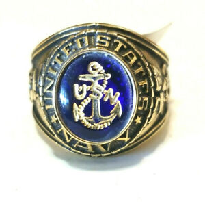 Vintage United  States Navy 18k Plated Ring Size 12 Made in USA