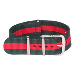 Stripe Red Dark Green 16 18 20mm 22 24mm Nylon Watchband Watch Strap Wristwatch
