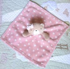 Jainco Uk Peach Polyester Plush & Hearts Teddy Bear Baby Girl Security Blanket