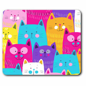 Computer Mouse Mat - Colourful Cats Cartoon Cat Print Office Gift #13233