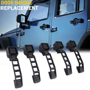 JeCar 5pcs Black Exterior Door Handles Set for 07+ Jeep Wrangler JK Replacement