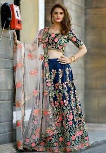 Indian Lehenga Choli Blue Floral Bollywood Wedding Bridal Partywear Lengha Saree