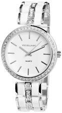 Excellanc Damen Armbanduhr 38 mm Metallarmband Weiß Silber Damenuhr Armband Uhr