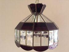 VTG Purple Clear Etched Beveled Glass Hanging Lamp Light Fixture Chandelier
