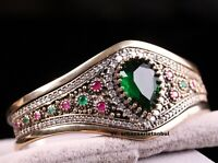 Turkish Jewelry Handmade 925 Sterling Silver Green Emerald Bracelet Bangle Cuff5