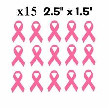 """x15 Breast Cancer Ribbons Pink Awareness Pack Vinyl Decal Stickers 2.5"""" x 1.5"""""""