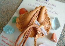 WEIGHT LOSS CRYSTAL MEDICINE BAG Pocket Size Deerskin Pouch + Reiki Gemstones