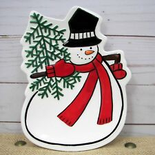 Fitz & Floyd Holiday Home Celebrate Snowman Plate Christmas Canape Snack Dish