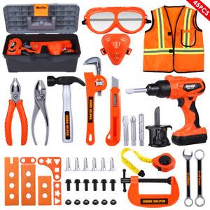 Werkzeugkoffer für Kinder Werkzeugkasten Set mit Bohrmaschine Werkzeug 45-teilig