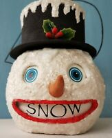 VTG Bethany Lowe'Snow'Candy Container Snowman Paper Mache Bucket Christmas Decor