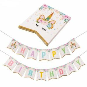 Unicorn Banner Gold Bunting Garland Flag Happy Birthday Party Ware Decoration