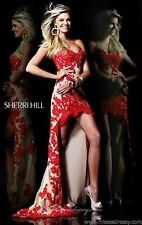 21016 Sherri Hill Hi Lo Red/Nude Lace Evening Formal Prom Gown Dress Size USA 8