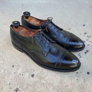 Allen Edmonds SANFORD Black Leather Cap-Toe Brogue Derby sz 11.5 E MENS US