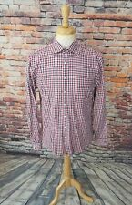 NWOT $185 Thomas Pink London SLIM FIT Navy Red Gingham Plaid Dress Shirt 16 41