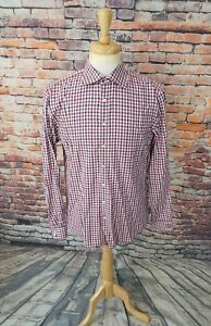 NWOT $185 Thomas Pink London SLIM FIT Navy Red Gingham Plaid Dress Shirt 16 41