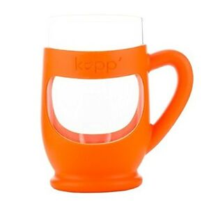 Kupp' Glass BPA Free 6oz. Drinking Cup w/ Silicone Handle for Kids Orange-Cute!