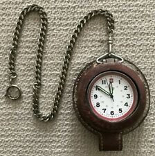 Swiss Army Pocket Watch Quartz Movement - Leather Belt Case & Chain (B41)