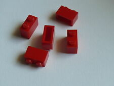 Lego 5 briques rouges 309 236 308 /5 red brick Without bottom  tube & old logo