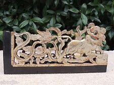 E69. Antique Carved  Wood Panel Gold Gilt w/ Foo Dog