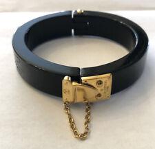 Vintage LOUIS VUITTON Black Resin Acrylic Hinged Lock Me Bangle Bracelet MW0121