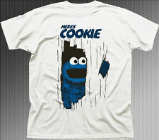 here's Johnny Cookie Monster Muppets The Shining movie white cotton t-shirt 9919