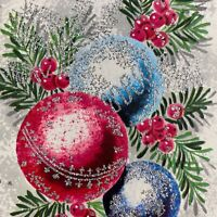 Vintage Mid Century Christmas Greeting Card Pink Blue Ornaments Silver Glitter
