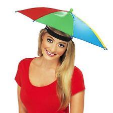 Adults Novelty Umbrella Hat Waterproof Rainbow Fishing Brolly Fancy Dress Rain