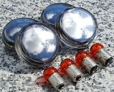 FULL CHROME TURN SIGNAL LENSES for Harley Sportster Softail Dyna Road King