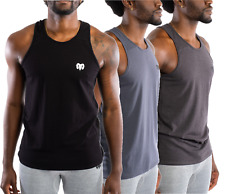 Mens Sleeveless Muscle Tee Cotton Solid Blank Tank T Shirt Hot Summer Gym Top