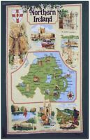 Map of Northern Ireland Linen Union Tea Towel by Samuel Lamont