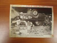 Vintage Glossy Press Photo Natick MA Route 9 Car Overturned Accident #1 2/21/78