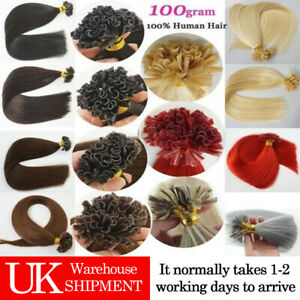 7A 16''-22'' 1g/s Remy Keratin Pre Bonded Nail/U Tip Human Hair Extensions UK