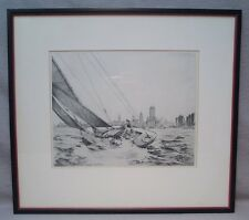 1937 Leon Pescheret Original Etching Sailing Off Lakeshore Drive Chicago