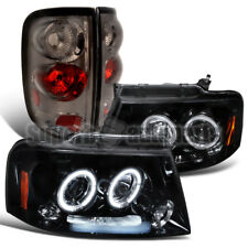 For 2004-2008 Ford F150 Glossy Black Halo Projector Headlights+Smoke Tail Lamps