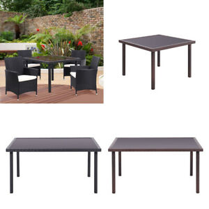 Outdoor Rectangle Rattan Glass Table Garden Patio Dining Tables  UK