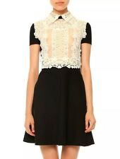 $3,174 New! ❤ VALENTINO Runway  Embroidered Silk Lace Eyelet Crepe Dress Sz 4