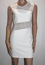 Cotton Candy Designer White Mesh Inset Bodycon Dress Size L BNWT #TE57