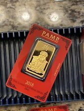 1 oz Gold Bar - Pamp Year Of The Dog 2018 - Suisse Gold Bar In Assay