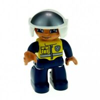 1x Lego Duplo Figur Mann Polizist Hose dunkel blau Weste gelb Helm 47394pb138