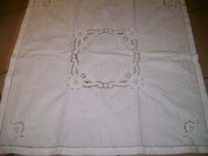 Tischdecke Mitteldecke Baumwolle Handarbeit Richelieu Rosen Durchbruch